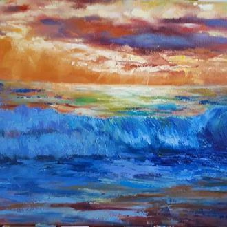 """Картина ручной работы, маслом на холсте """"Море"""""""