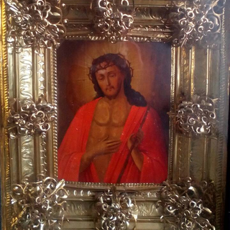 Старинная икона Иисус Христос в терновом венце