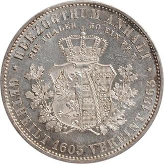 """Ангальт 1 союзный талер 1863 г., UNC, """"280 лет со дня отделения ангальтских герцогств"""""""