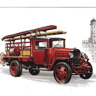 Открытка Авто, пожарный автонасос ПМГ-3 ГАЗ 1948