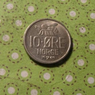 Норвегия 1969 год монета 10 эре !