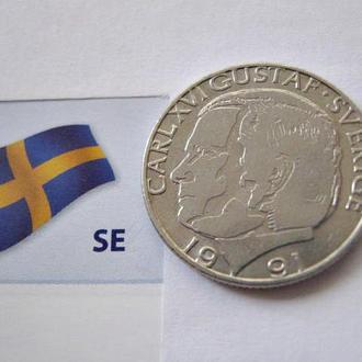 ШВЕЦИЯ 1 крона 1991 года - обиходная монета.