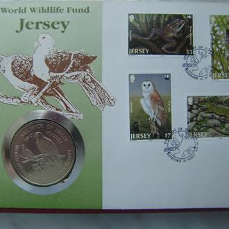 Джерси 2 фунта 1987 UNC. Фонд дикой природы. Редкая.
