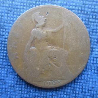 монета 1/2 пенни Великобритания 1908