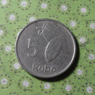 Нигерия 1974 год монета 5 кобо !