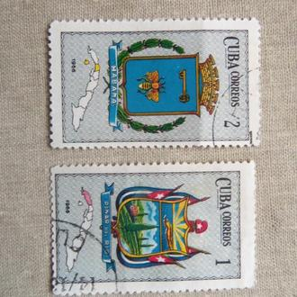 марки-блок- с 1 гр Куба--(А3) - гашеные 1966 год-гербы