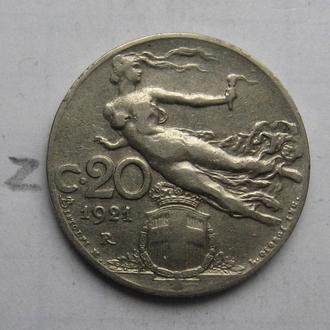 ИТАЛИЯ, 20 чентезимо 1921 года.