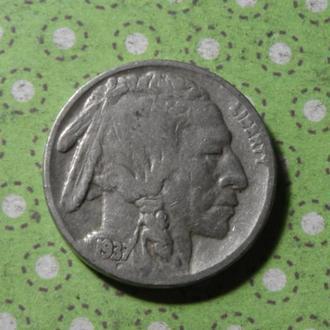 США 1937 год монета 5 центов Америка индеец буффало !