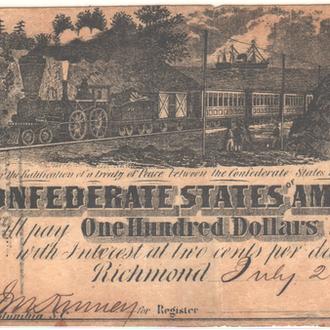100 долларов Конфедератов 1862 г. в ХF