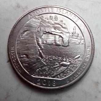 США 25 центов Национальные озёрные побережья островов Апостол 2018