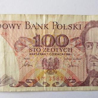 100 злотых Польша 1986 год