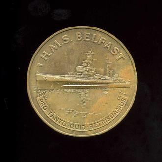 Две настольные медали английский крейсер H.M.S BELFAST