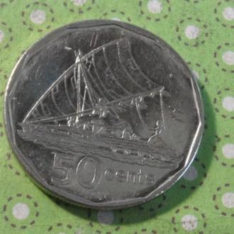 Фиджи 2009 год монета 50 центов парусник !