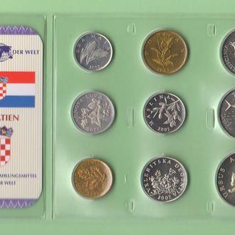 Набор монет ХОРВАТИЯ блистер запайка набір ХОРВАТІЯ пластик из серии DAS GELD DER WELT