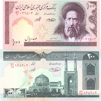 Иран набор 100-200 риалов 82-85г. в UNC
