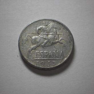 Монета старого зразка. Друга світова війна. Іспанія. 1945 рік. Вершник на коні. Нечаста. Стан !!!