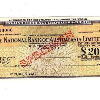 Дорожный Чек Австралия Англия 20 фунта Образец