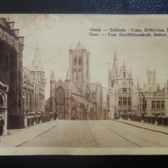 Бельгия. Почтовая карточка - Анфилада. Почта. Собор Св. Николая. Башня Белфорт.