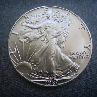 США 1 доллар 1987 Свобода 1 унция Серебро