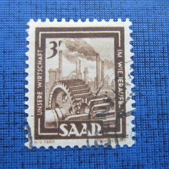 Марка Саар Германия 1951 стандарт индустрия 3 франка гаш