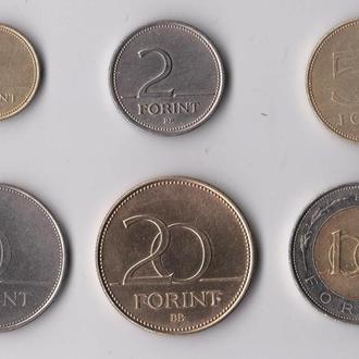 1, 2, 5, 10, 20, 100 ФОРИНТОВ = 1993 - 1997 гг. = ВЕНГРИЯ