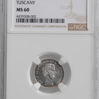 """Тоскана 1/2 паоло 1857 г., NGC MS60, """"Великий герцог Леопольд II (1824 - 1859)"""""""