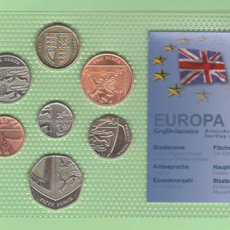Набор ВЕЛИКОБРИТАНИЯ : обиходные монеты изображают герб Великобритании / блистер запайка пластик