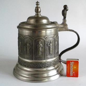 Антикварный оловянный  бокал Апостолы 1400 мл Zinn95% Germany
