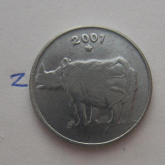 ИНДИЯ, 25 пайса 2001 г. (НОСОРОГ).