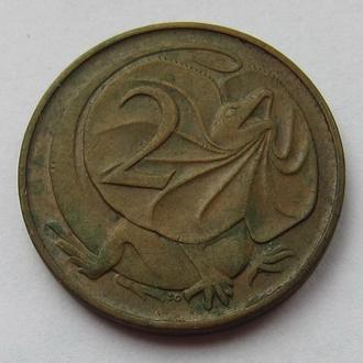 Австралия 2 цента 1966 (KM#63) *Ящерица*