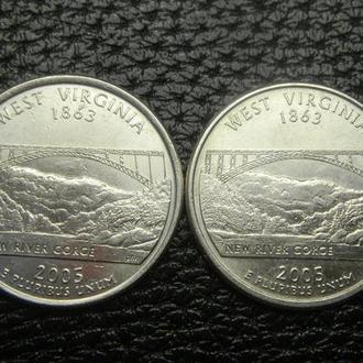 25 центів 2005 США Західна Вірджинія (два різновиди)