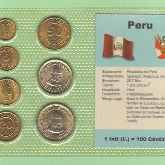 Набор монет ПЕРУ 1985 - 1988 год а блистер запайка пластик