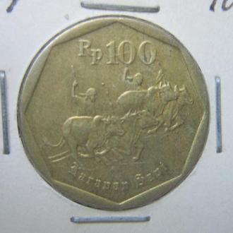 монета 100 рупий Индонезия 1994 фауна буйволы