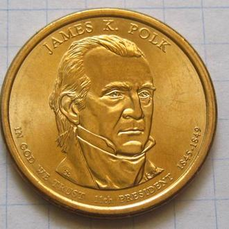 США_ 1 доллар 2009 года D  11-й президент Джеймс Нокс Полк