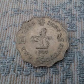Два Доллара 1987 год деньги Гонгконг