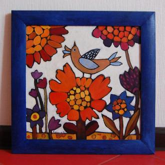 """Картина """"Пташиний спів"""", 35х35, автор - Бородуля Елена."""