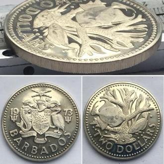 Барбадос 2 доллара, 1973г. Период Королева Елизавета II (1970 - 2018) / Медно-никелевый сплав