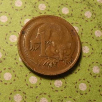 Австралия 1966 год монета 1 цент фауна !
