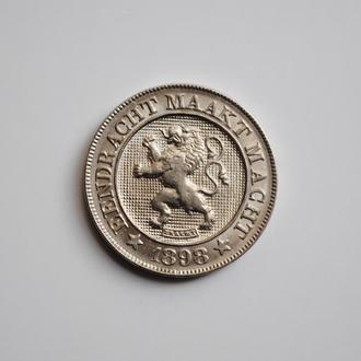 Бельгия 10 сантимов 1898 г. DER, UNC, 'Король Леопольд II (1865-1909)', РЕДКОЕ СОСТОЯНИЕ