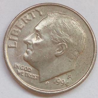 1 дайм 1994 год США. Мон двор - ( Р) Филодельфия.Рузвельт. Редкая !!!