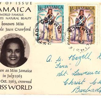 GB Ямайка 1964 г - конверт - Мисс. Мира
