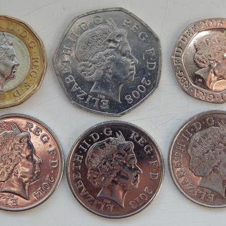Великобритания 2 фунта (1 фунт+50 пенс+20 пенс+10+10+10 пенсов) 2008-2017