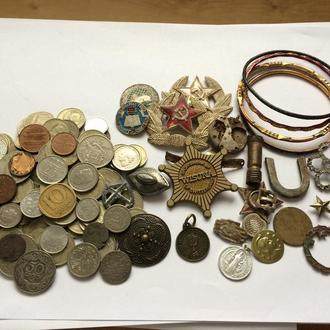 Всякое разное. Монеты больше 110 шт. Украшения и другое.