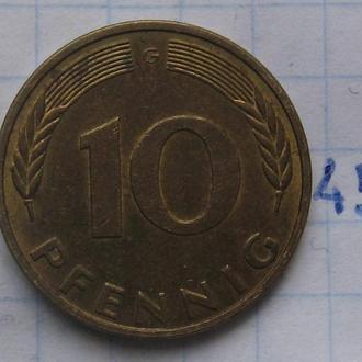 ФРГ 10 пфеннигов 1982 года (G).