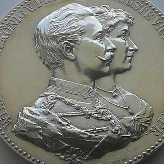 Германия  медаль 1912 год. серебро 900, вес 50гр. ОРИГИНАЛ!!! СОСТОЯНИЕ!!! НЕ ЧАСТАЯ!!!