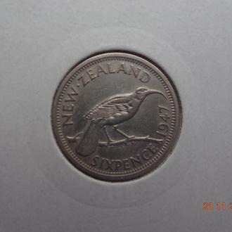 """Новая Зеландия 6 пенсов 1947 George VI """"Huia bird"""" отличное состояние очень редкая"""