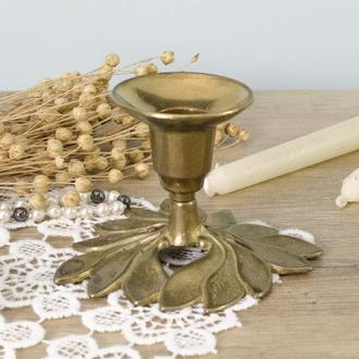 Старый бронзовый подсвечник, бронза, основание в форме цветка, Англия 0012 пд
