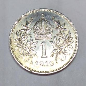 1 корона 1916 Австро-Венгрия, серебро, оригинал, сохран!