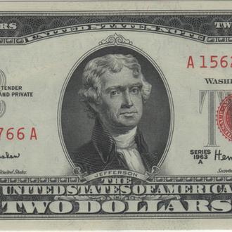 2 доллара США 1963г. в UNC из пачки
