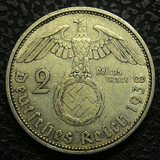 Германия 2 марки 1938 год Серебро СВАСТИКА!!! 3 РЕЙХ!!! СОХРАН!!!